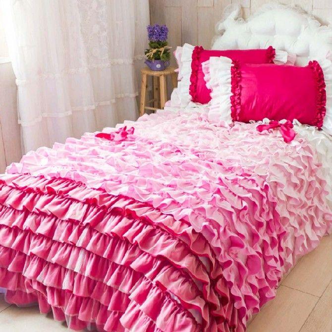 Pink Ombre Ruffle Duvet Cover Set Ruffle Duvet Lace Bedding
