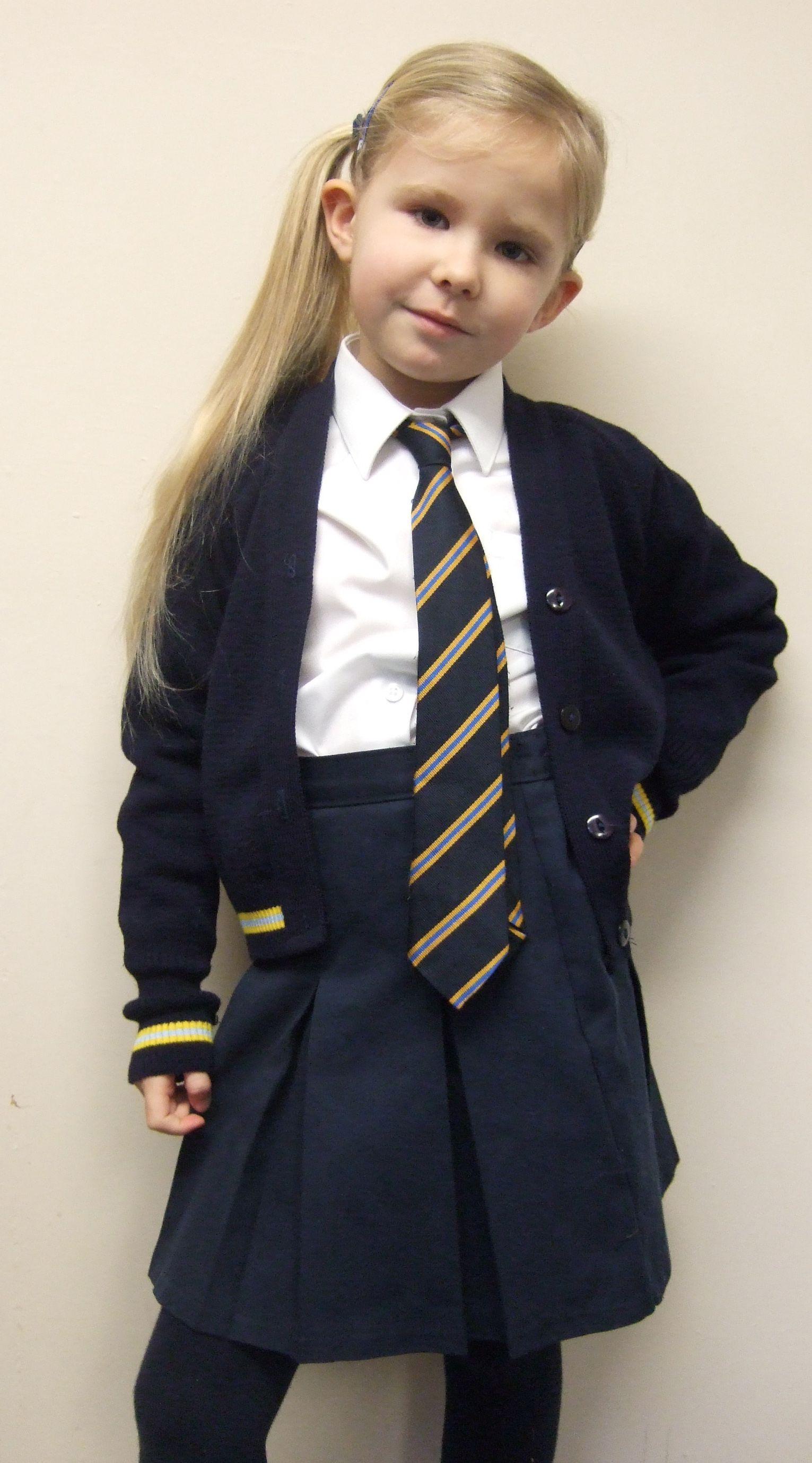 Girls Winter Uniform Navy Blue Pinafore Dress Or