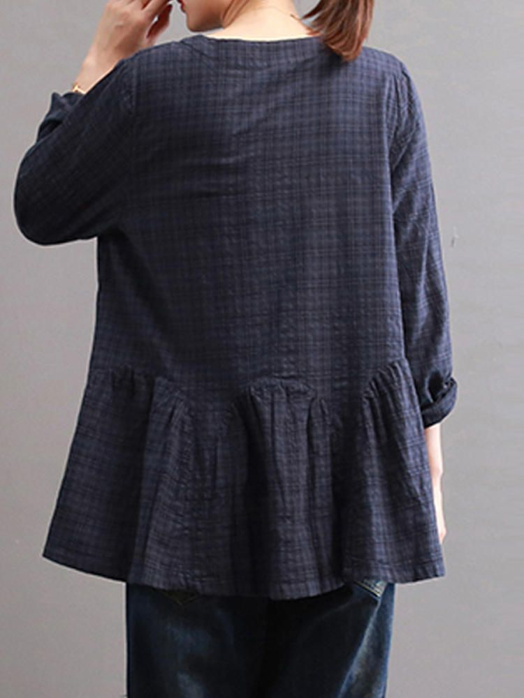 b08cdba970f0 Women Check Long Sleeve Ruffled Loose Baggy Blouse - Banggood Mobile ...
