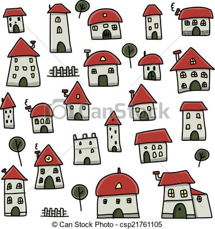 Vector - Set of houses, sketch for your design - stock illustration, royalty free illustrations, stock clip art icon, stock clipart icons, logo, line art, EPS picture, pictures, graphic, graphics, drawing, drawings, vector image, artwork, EPS vector art
