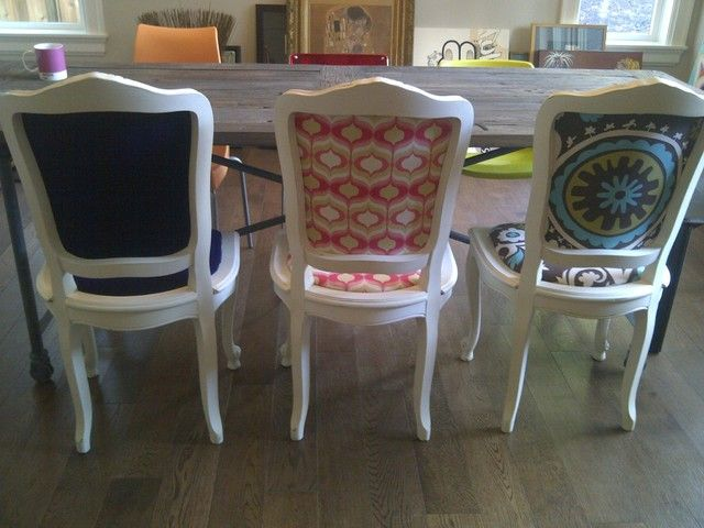 personalising the backs of chairs is such a great upcycling idea