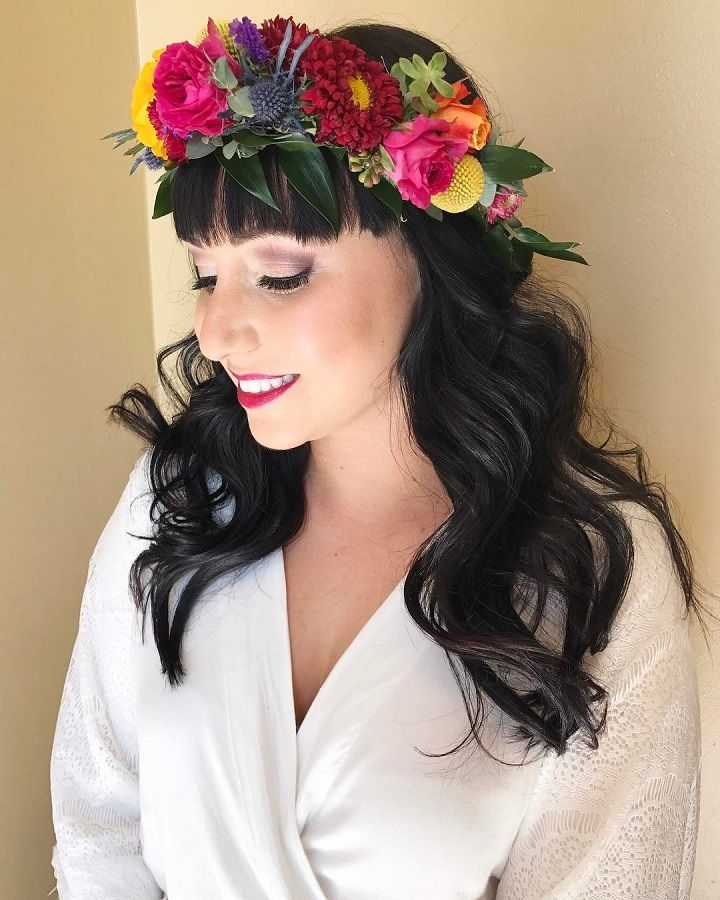 Beautiful hair down full, voluminous waves to go with this incredible flower crown #weddinghair #bridalhair #bridehair #hairdown #flowercrownhairstyle #weddinginspiration #hairinspiration