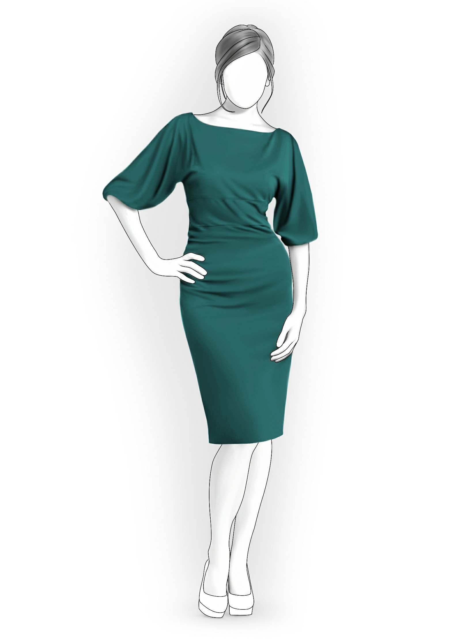 Dress With Wide Sleeves - Sewing Pattern #4079. Made-to-measure sewing pattern from Lekala with free online download.