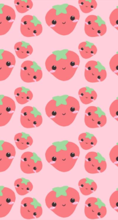 Greatiphoneapps Kawaii Strawberries Iphone5 Wallpaper Wallpaper Iphone Cute Kawaii Wallpaper Cute Wallpapers