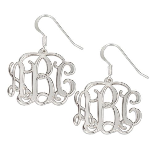 Personalized Monogram Initials Of Expressions Sterling Silver Earrings