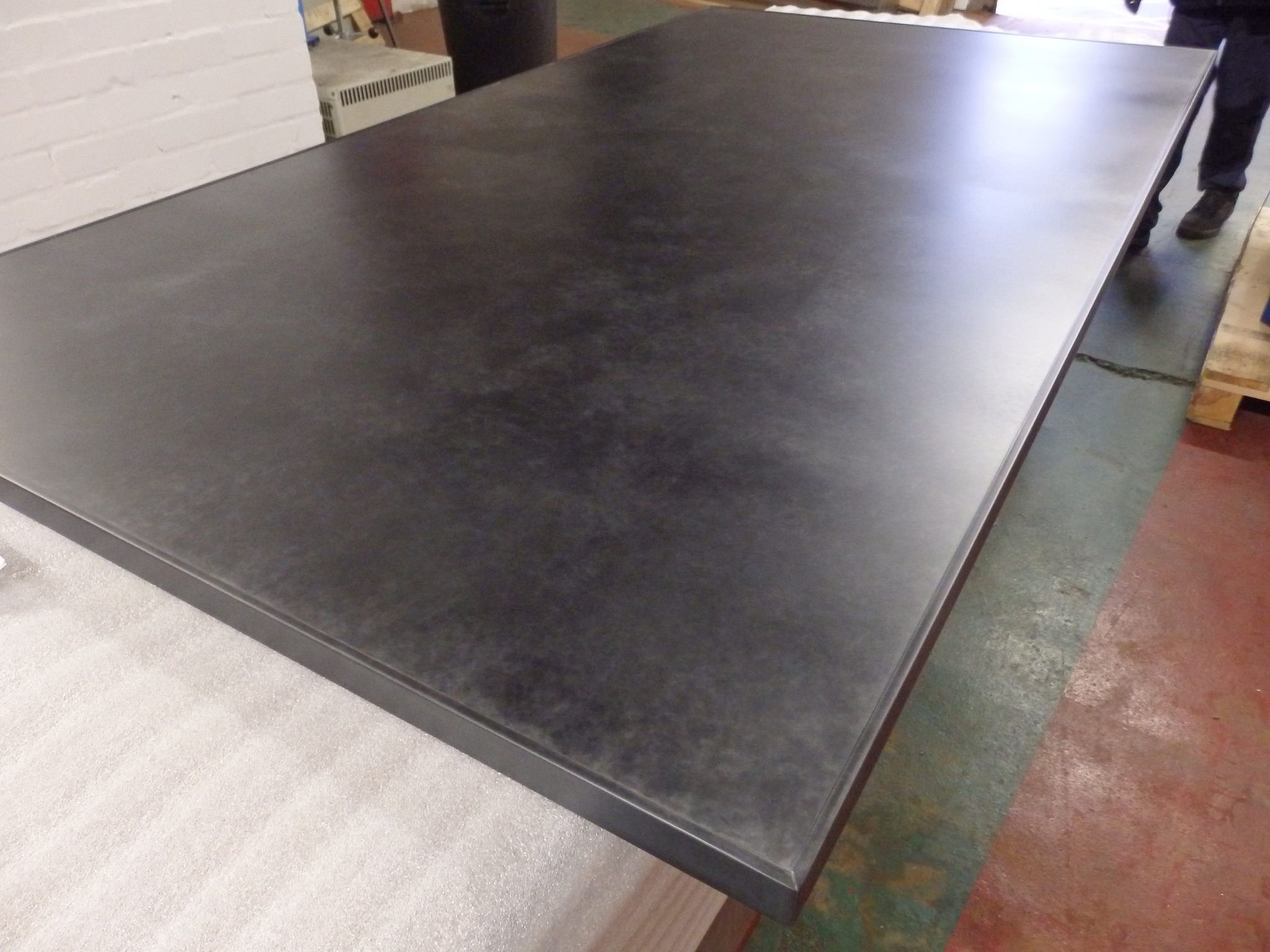 176 Dark Patina Table Top Edge Trim Clear Lacquered Steel Table Steel Sheet Metal Table Top Design