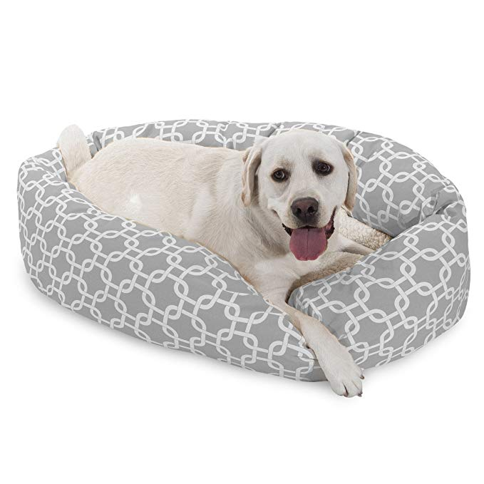 Amazon Com 40 Inch Black Links Sherpa Bagel Dog Bed Pet Supplies Bagel Dog Dog Bed Dogs
