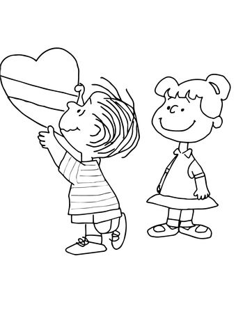 Charlie Brown Valentine Coloring page | Peanuts | Pinterest