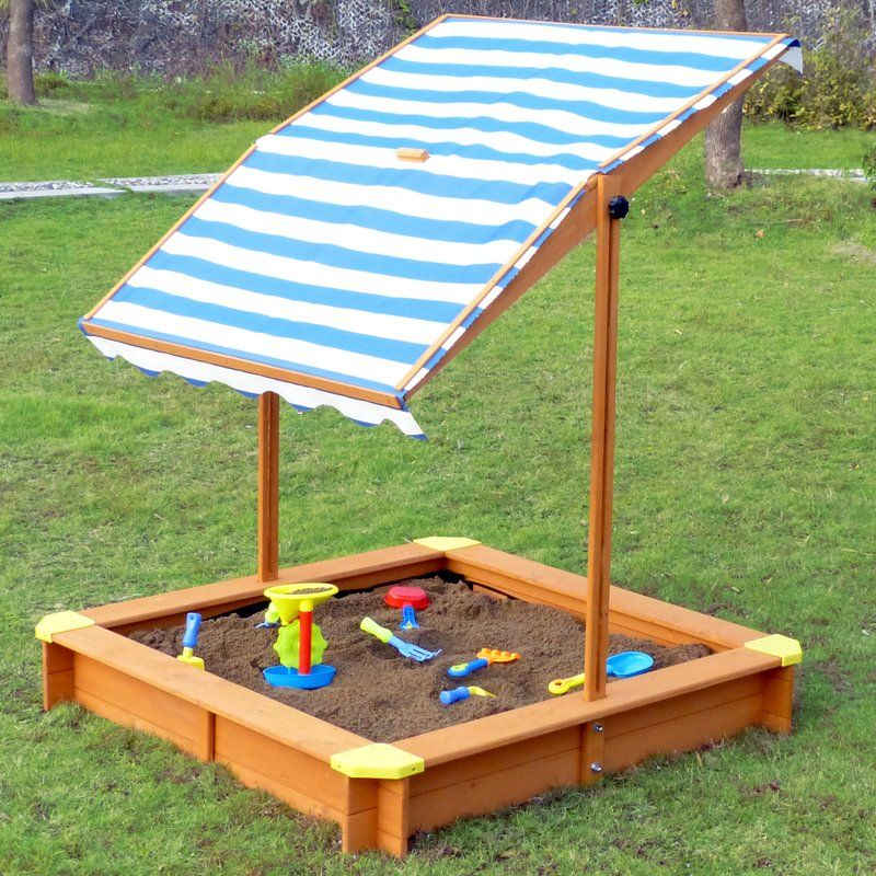 Square Sandbox with Cover is designed to keep kids cool and shaded while having fun. The height of the canopy is adjustable and can be used as sandbox cover ... & Square Sandbox with Cover is designed to keep kids cool and shaded ...