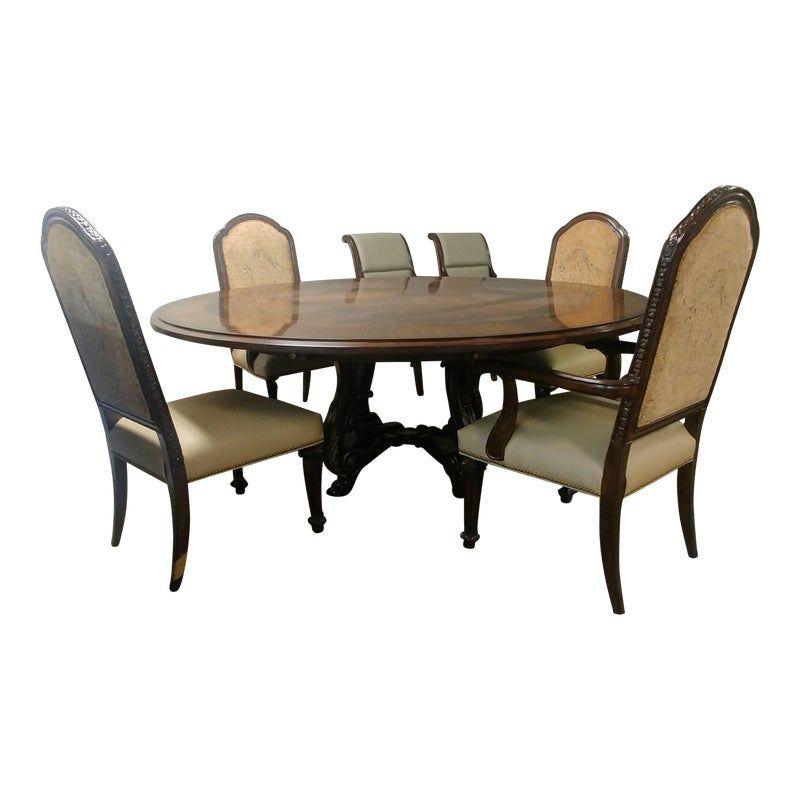 Transitional Henredon Furniture Westbury Manor Mahogany Burl Round Dining Set 5 Pieces Round Dining Set Round Dining Furniture
