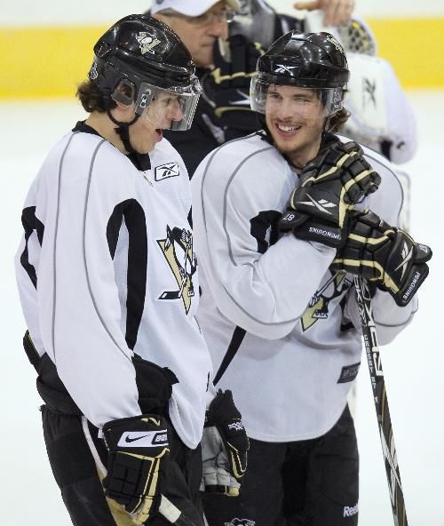 Sidney Crosby and Evgeni Malkin enjoying a morning skate practice session