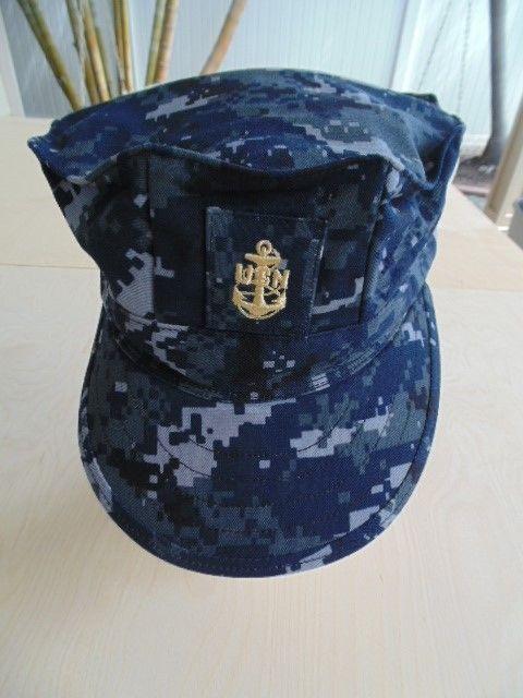 USN NAVY SAILOR CPO SHIP SHORE AIR NWU BLUE CAMO COMBAT CAP