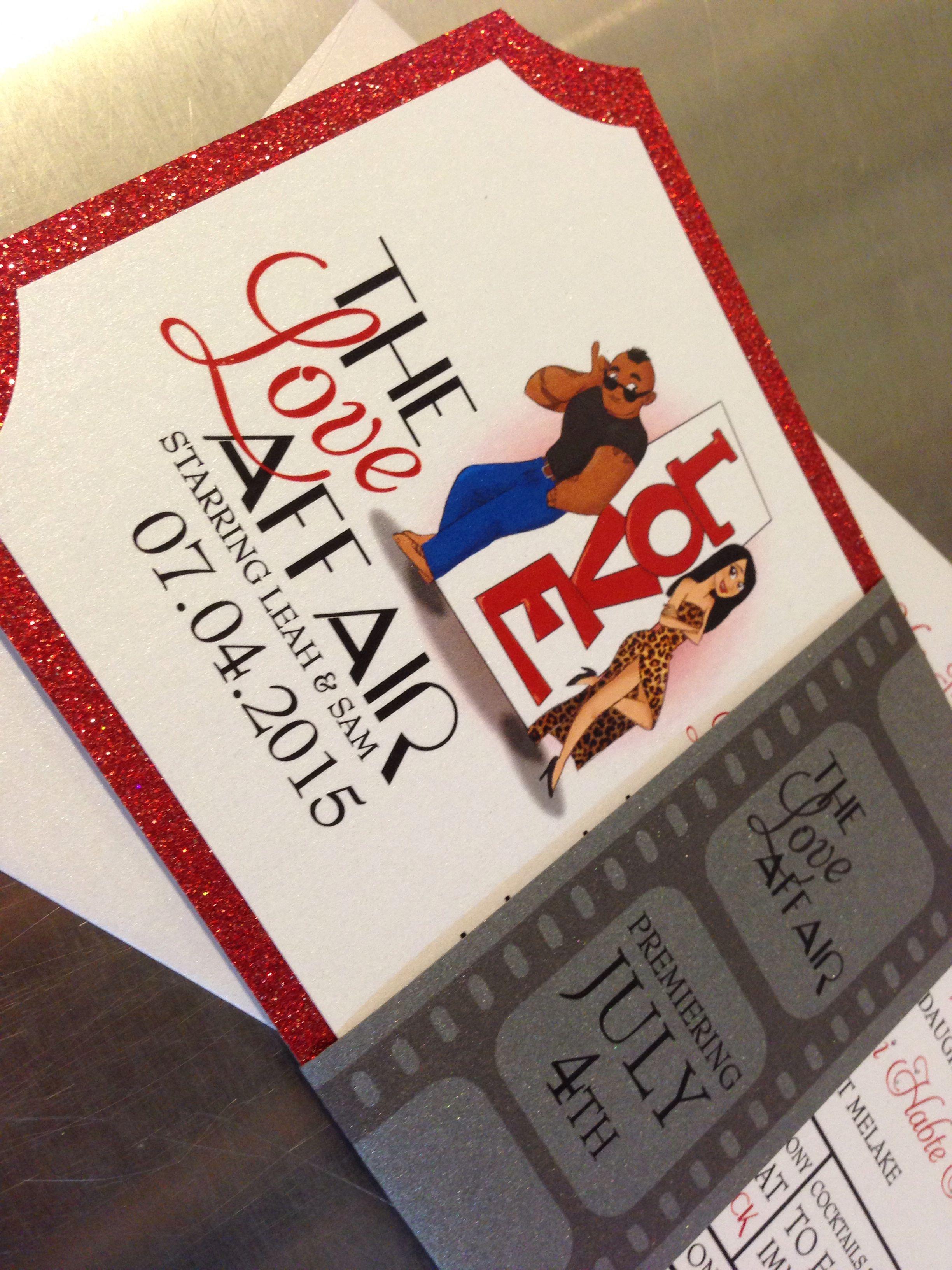 Movie ticket wedding invitation Glitter invitation Film strip ...