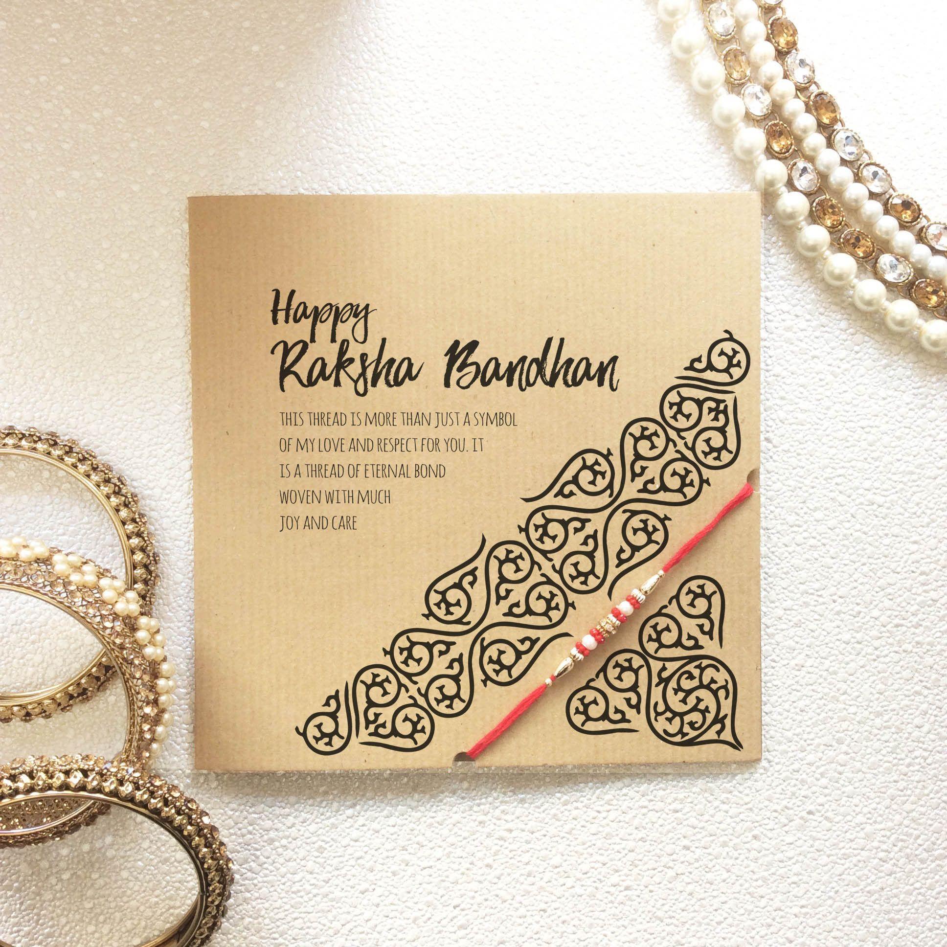rakhi card with raksha bandhan thread rakhi greeting card