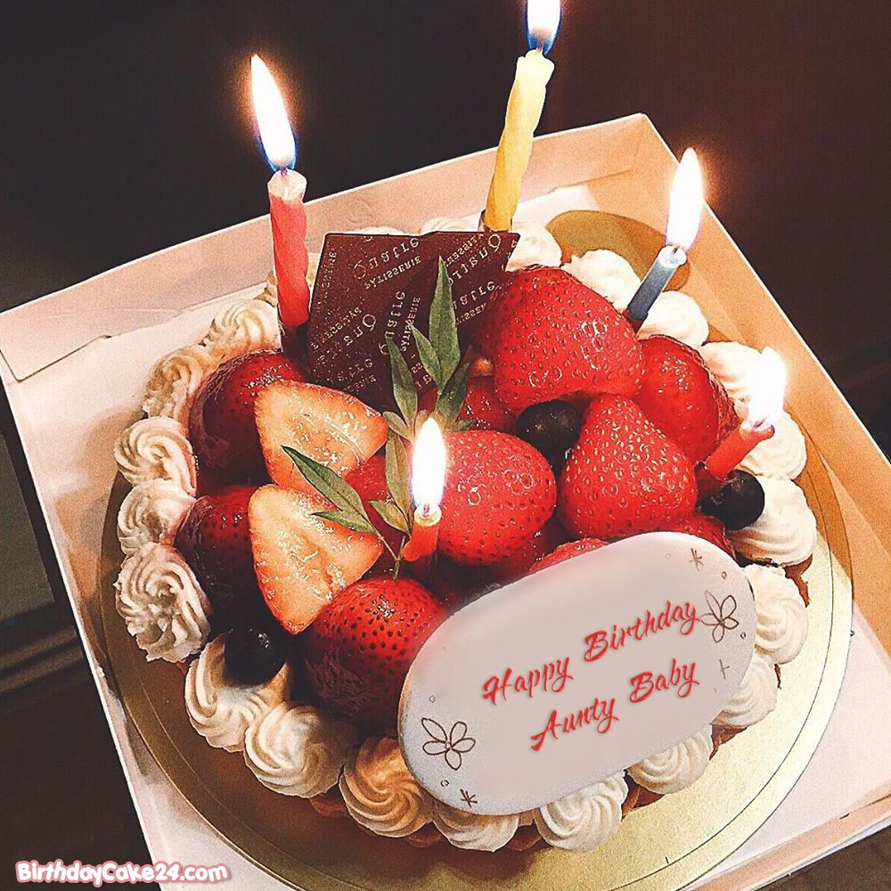 Strawberry Cake With Candle With Name Online Happy Birthday Cake Writing Happy Birthday Cakes Birthday Cake With Candles