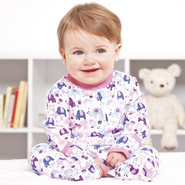 Floral Elephant Baby Sleepsuit, Baby Sleepsuits and Bodies, Baby Clothes