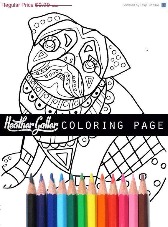 50% Off- DIY Pug Instant Coloring Book Page art Digital Download ...