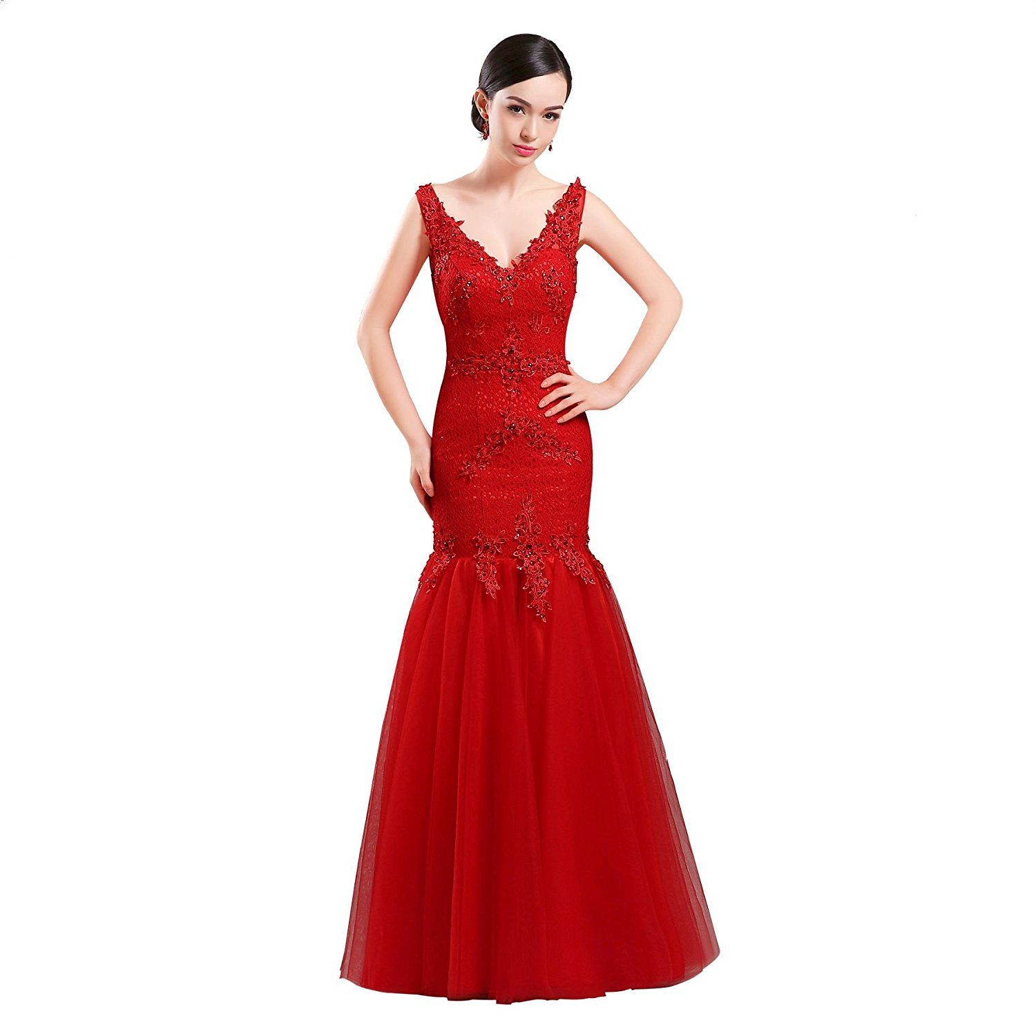 Lafee bridal womenus beading vneck red lace applique wedding party