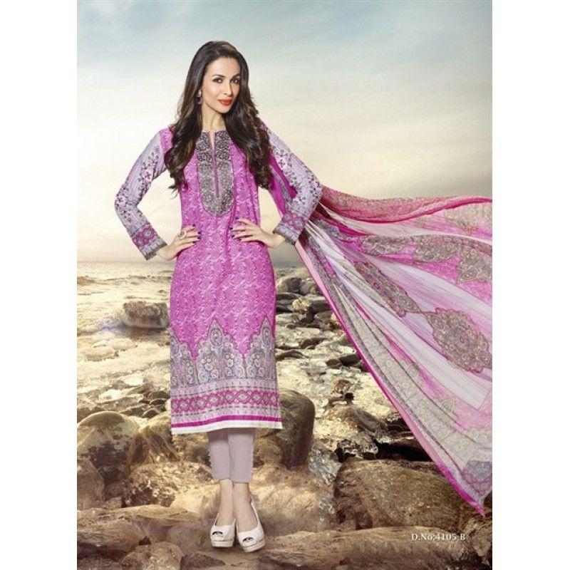 Eid Special Designer Malika Arora Pink Cotton Derss Materil Salwaar Suit-4108( OFB-300)Karishma