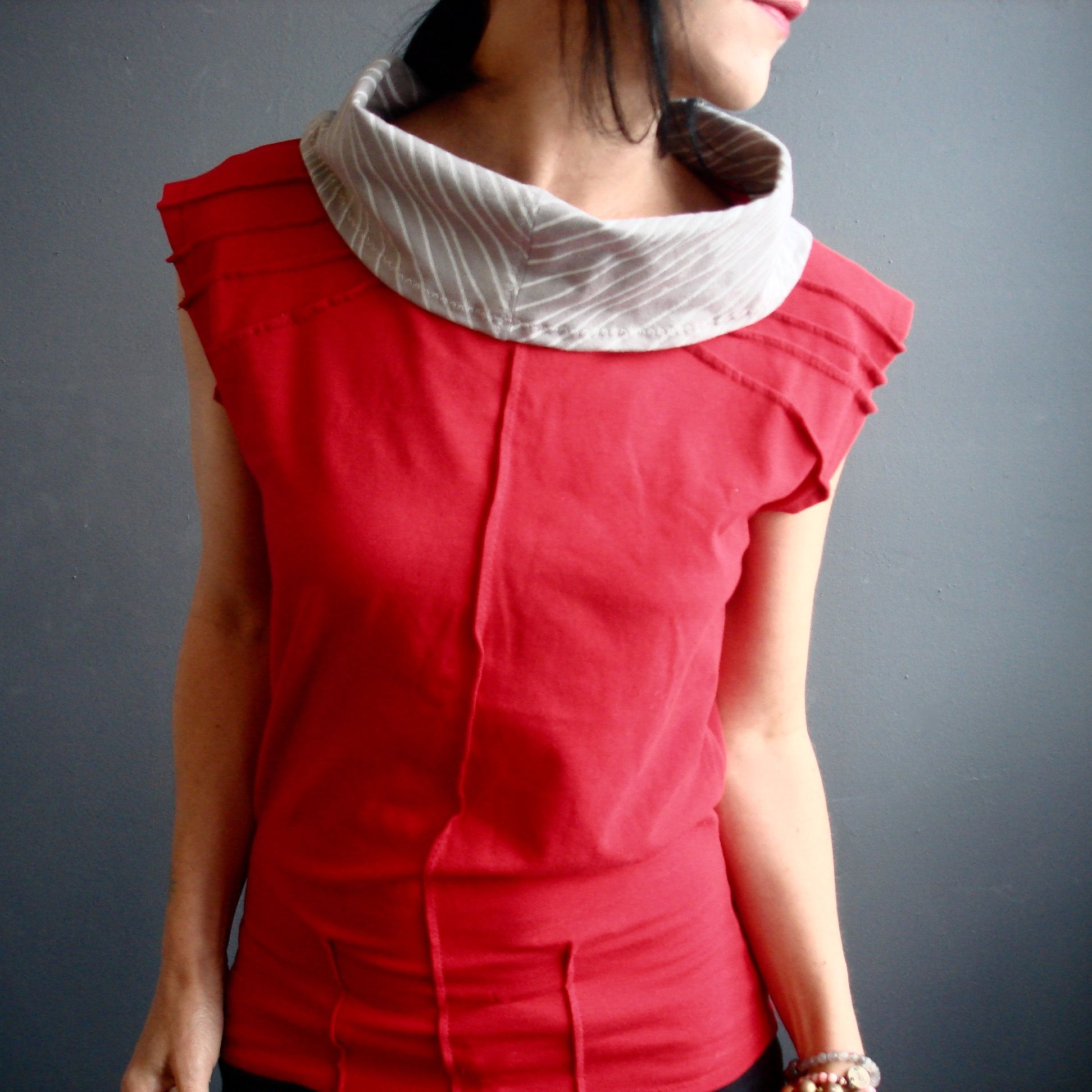 Break It Up – iheartfink Handmade Modern Chevron Cowl Top, Womens Hand Printed Red Gray Jersey Top, Sleeveless Wearable Art Top
