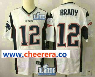 868dcc24786 Men s New England Patriots  12 Tom Brady NEW 2019 Super Bowl LIII Patch  Road Stitched NFL Nike Elite Jersey