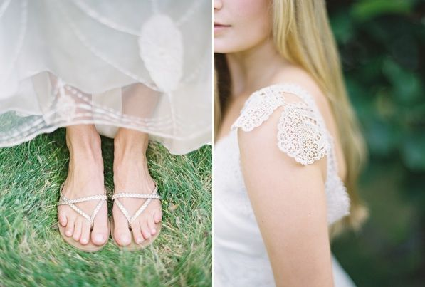 peaceful seaside wedding inspiration - bridal shoes and lace sleeves
