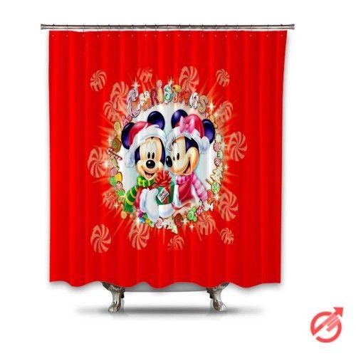 Christmas Mickey Mini Mouse Cartoon Shower Curtain