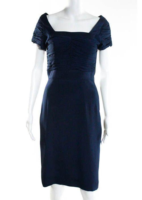 ABAETE Navy Silk Ruched Detailed Short Sleeve Sheath Dress Sz 2 #ABAETE #Sheath #Cocktail