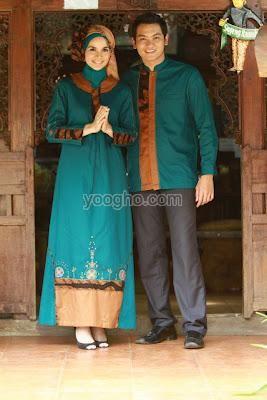 Azkasyah Couple Hijau Tosca Fashion Gaun Baju Muslim Dan Model