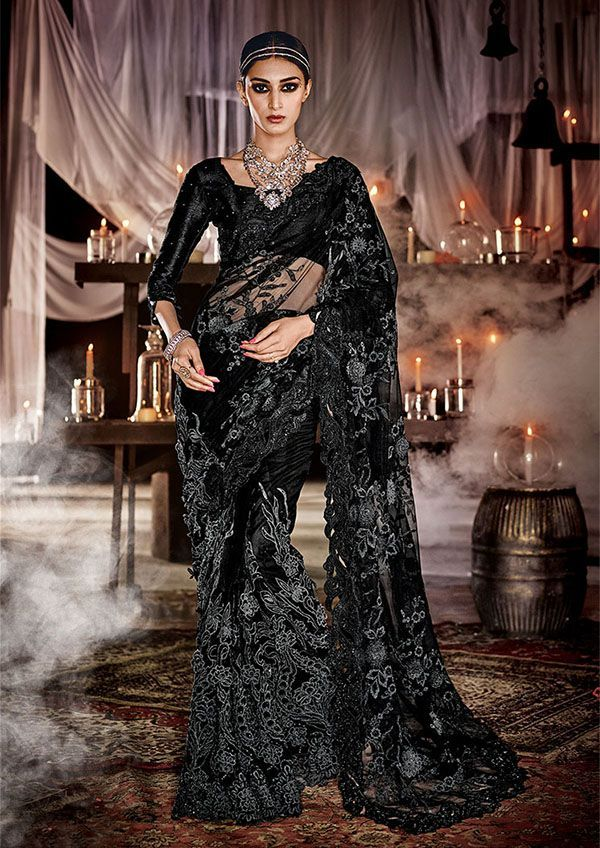 Black Net And Silk Designer Saree For Wedding Reception Or