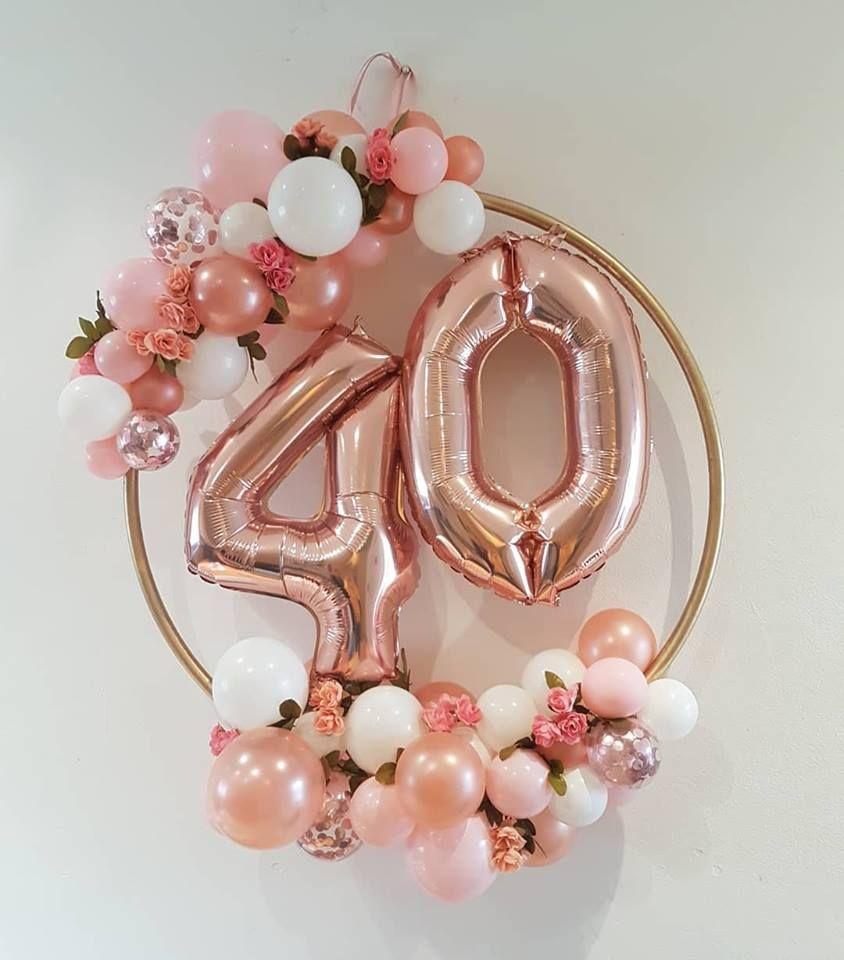 40th Rose Gold Balloon Hoop - Organic Balloon Hoop | 40th birthday party themes, 40th birthday ...