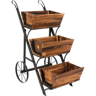 Superior 3 Tier Wooden Garden Cart Planter | Patio /Landscaping Ideas | Pinterest | Garden  Cart, Planters And Gardens