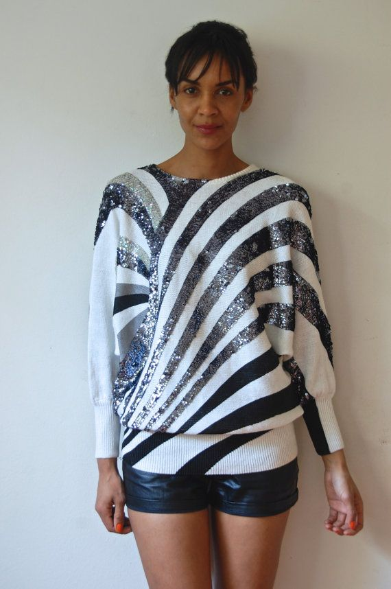 2025c68841e Vtg Sequined Batwing Zebra Print Black White Grey by LuluTresors Grey  Sweater Dress