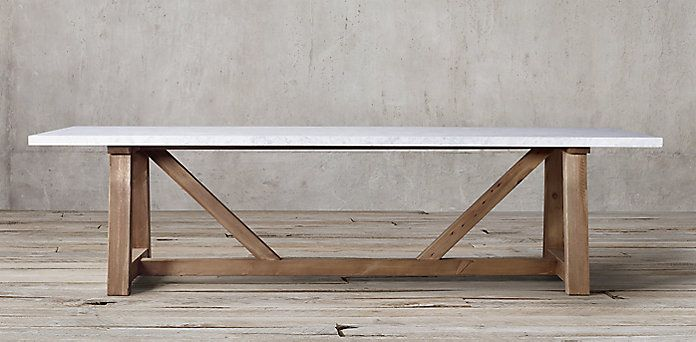Salvaged Beam Natural And White Marble Rectangular Dining Table