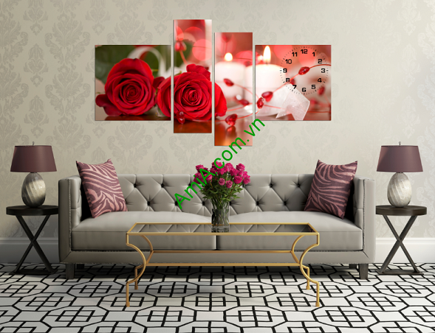 Bộ tranh hoa hồng tình yêu rất hợp treo trang trí phòng khách ở các gia đình trẻ tuổi, treo trang trí phòng ngủ tạo sự lãng mạn, ấm cúng và rất đẹp.