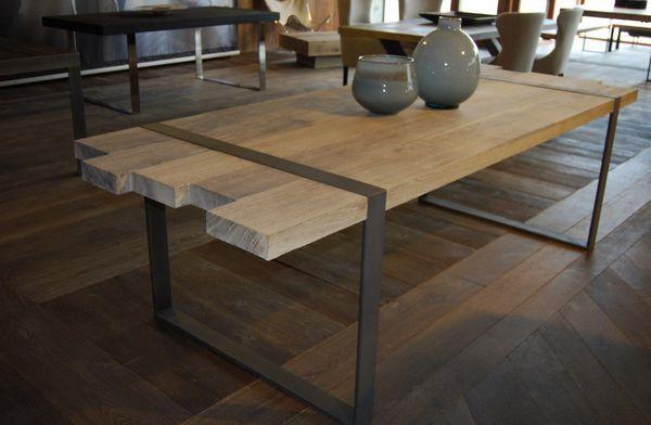table acier bois d coration en 2019 table bois table et table manger. Black Bedroom Furniture Sets. Home Design Ideas