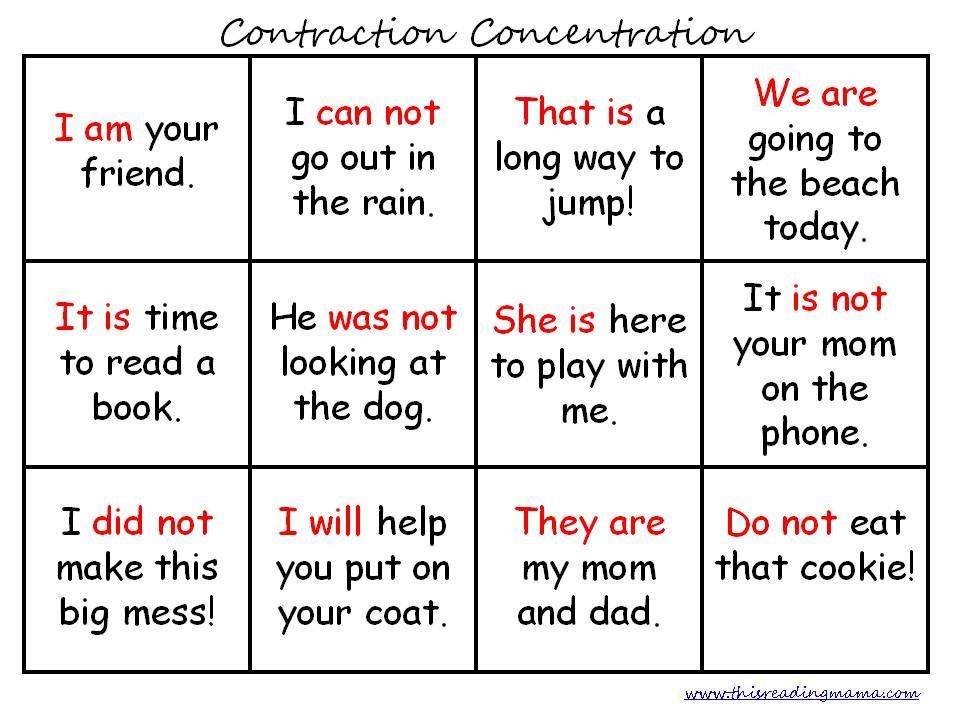 FREE Contraction Printables | Language arts and Language