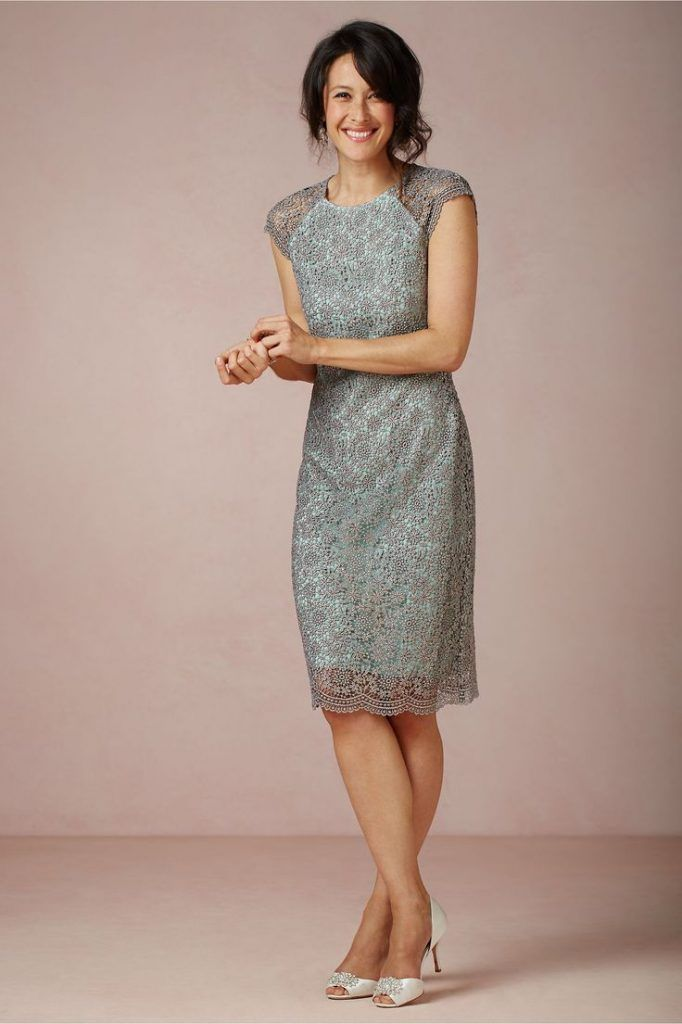 Casual Mother Of The Bride Dresses Tea Length Mothers Dresses Shift Wedding Dress Lace Dress