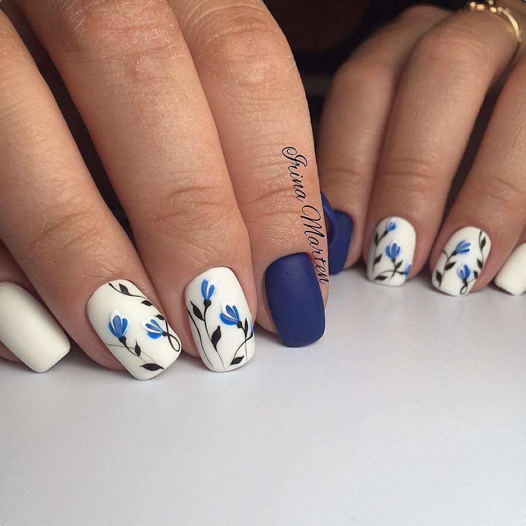 Bluewhite Floral Accessories Pinterest Floral Manicure And