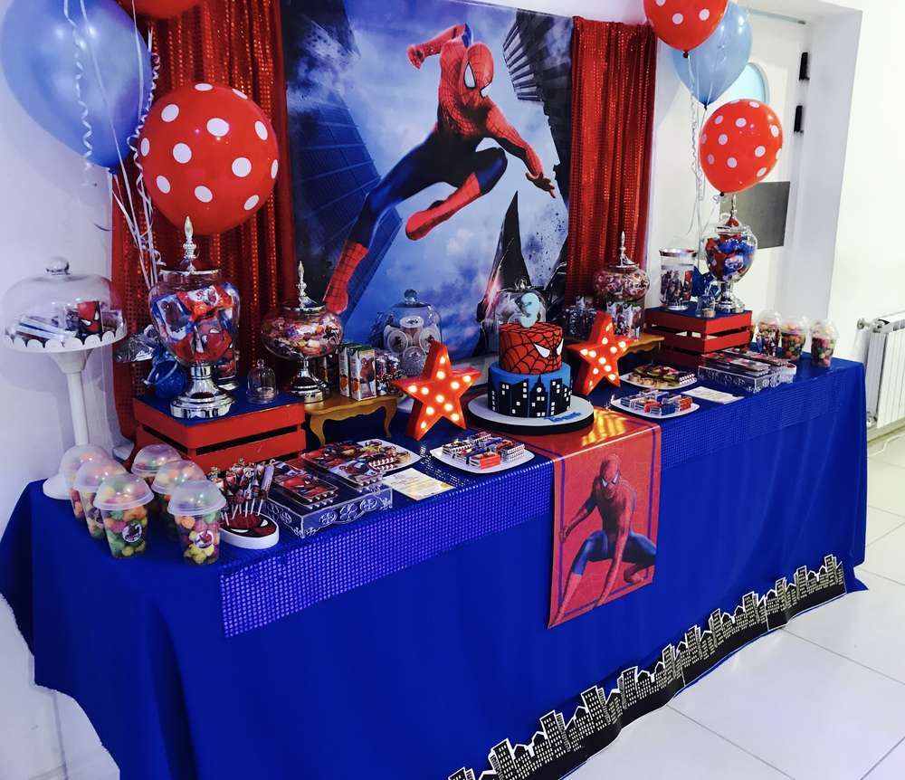 Spiderman Birthday Party Ideas Photo 7 Of 11 Spiderman Theme Party Spiderman Birthday Spiderman Birthday Party