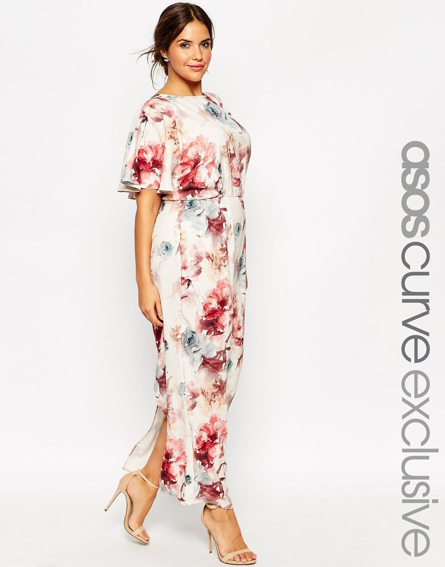 a892bb74e1 Image 1 of ASOS CURVE Flutter Sleeve Maxi Dress in Painterly Floral ...