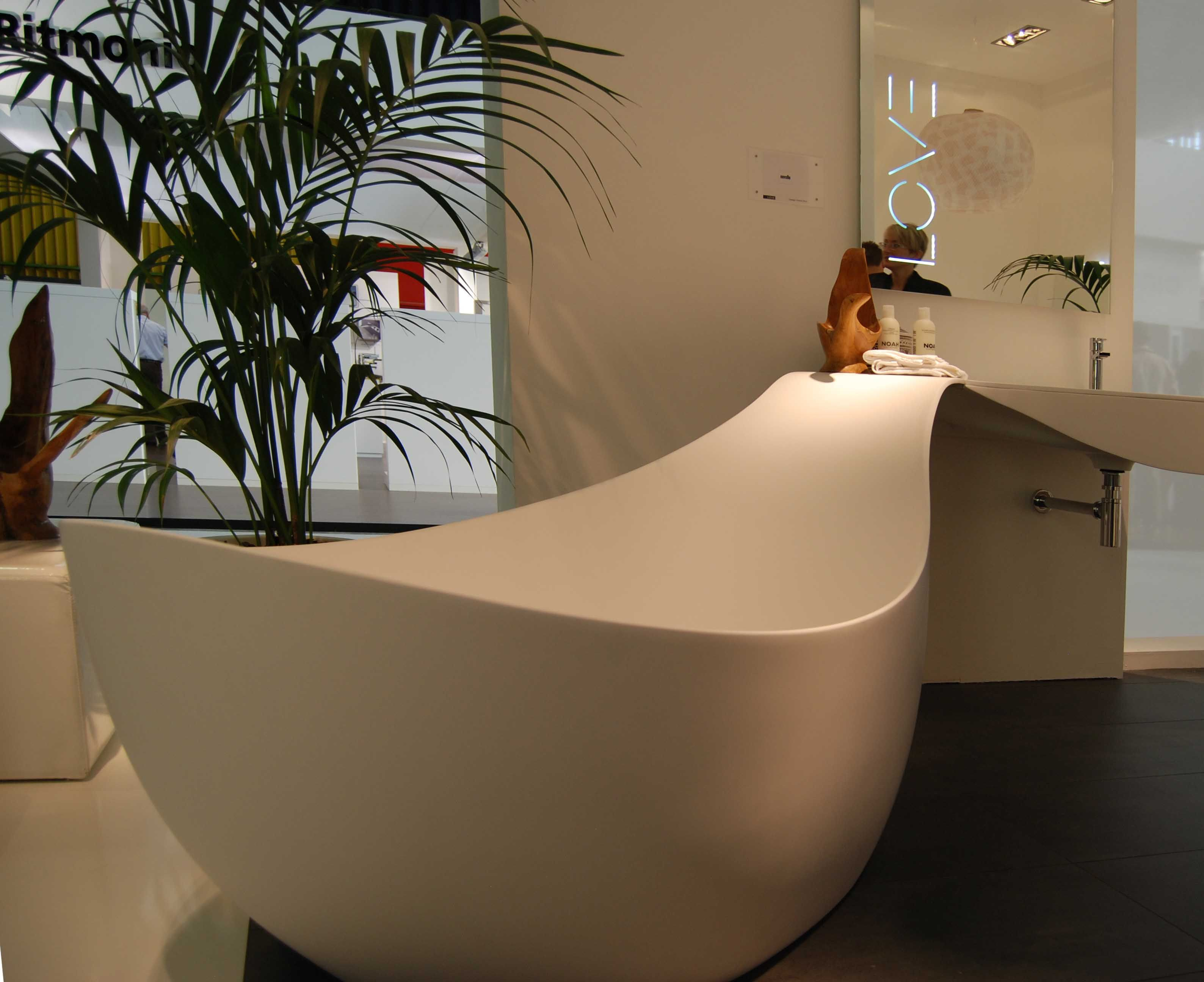 Modern, free-standing tub and adjoining vanity #bathroom # ...