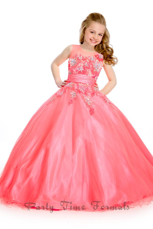Girls Coral beaded Pageant Dress | My Spring Colors #sweepsentry ...