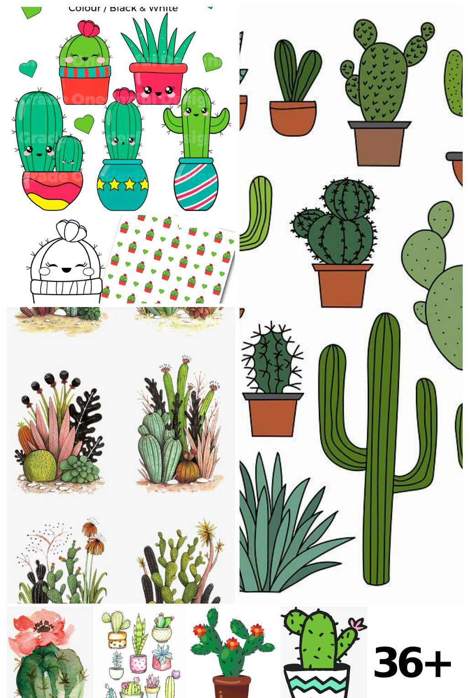 Cactus Clipart Watercolor Cactus Cactus In Pots Sticker In 2020