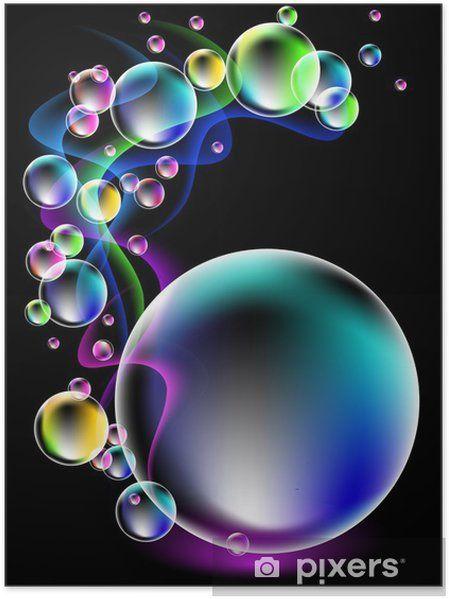 Póster Neon smoke and spectacular bubbles • Pixers® - Vivemos para mudar