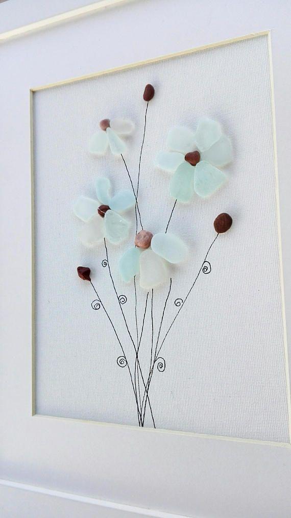 Pebble Art Flowers Flowers Sea Glass Flowers Gift Unique Pebble Art Flower Art Beach Glass Crafts