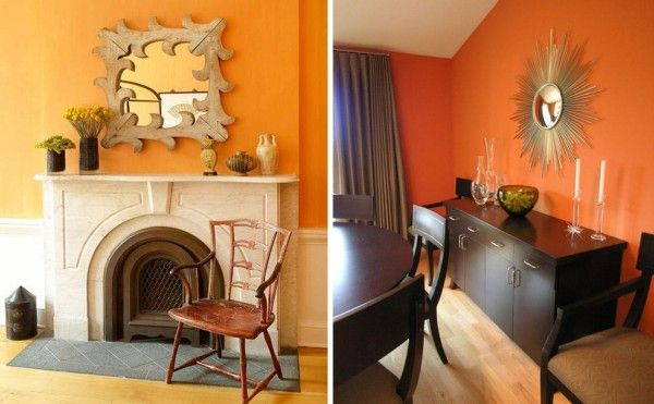 Chimenea pared naranja deco para la casa pinterest - Muebles mandarina home ...