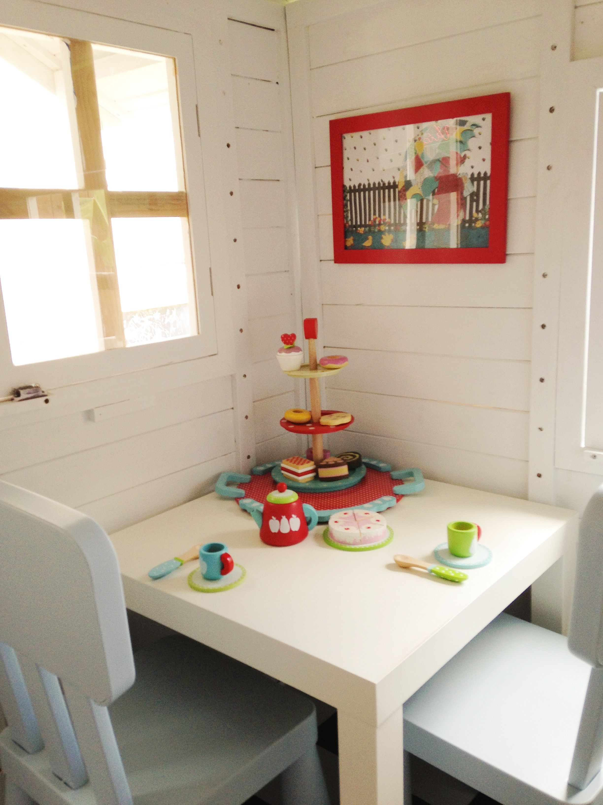 Cubby house interior ikea table and chairs kmart tea set