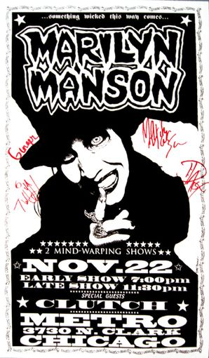 Marilyn Manson 11 22 95 Marilyn Manson Art Marilyn Manson Quotes Concert Poster Art