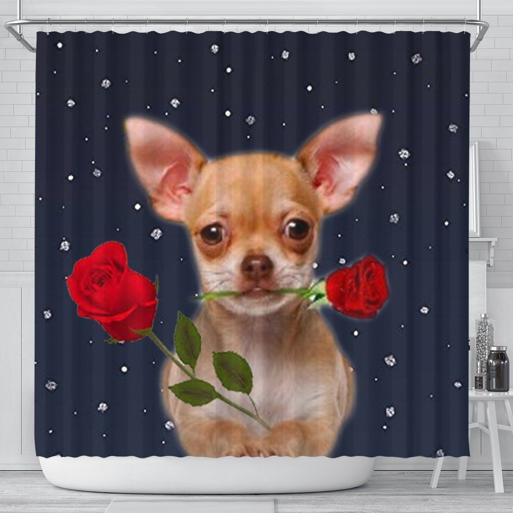 Chihuahua Dog With Rose Print Shower Curtain Printed Tapestries